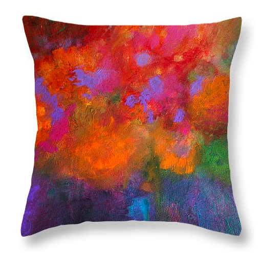 "Abstract painting on a throw pillow: ""Fleurs Laughing"" by ©CMDay 2015, available from salzart.com/salz-store"